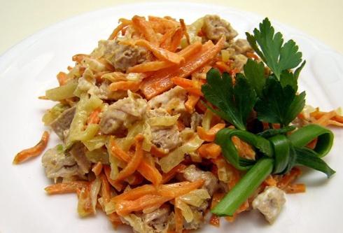 Салат с печенью морковью шампиньонами и