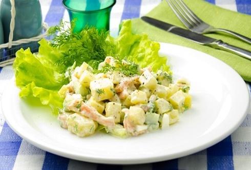 Салат с картофелем и семги